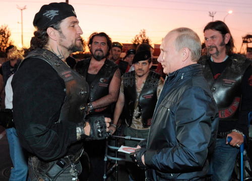 "It turns out Russian bikers are exactly as intense as you thought they would be.  Alternate caption: ""You have nothing to worry about, my fearless leader. James Bond will be dead within the week."" Alternate alternate caption: Is it just me, or is that a look of terror on good ol' Vladimir's face? (via Vladimir Putin, Action Man - Alan Taylor - In Focus - The Atlantic)"