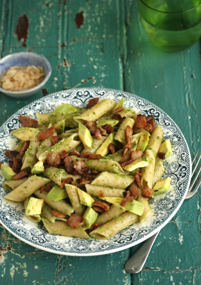 gastrogirl:  penne with pesto, bacon, and avocado.