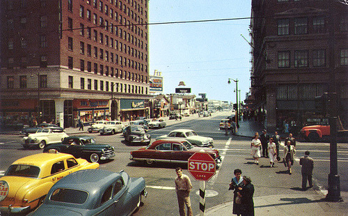 socaleveryday:  (by A Box of Pictures) Corner of Hollywood & Vine, 1950's