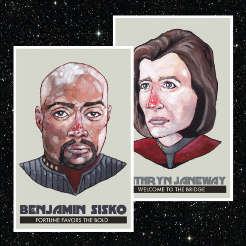 "Star Trek Captains of the Delta Quadrant set, featuring Captain Sisko  and Captain Janeway. This listing is for the two Captains posters as a  set. Each poster is printed on 11"" x 17"" Epson Premium Matte Paper with a  1/4 inch border for framing purposes. The paintings used in the poster  are original painted by me. The perfect accessory for the Trekkie home,  or as a gift for that Trekkie in your life."