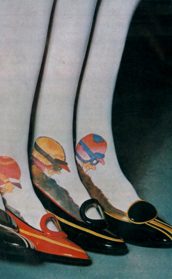 theswingingsixties:  Shoes and stockings by Charles Jourdan for Vogue, 1967.  Photo by Guy Bourdin.