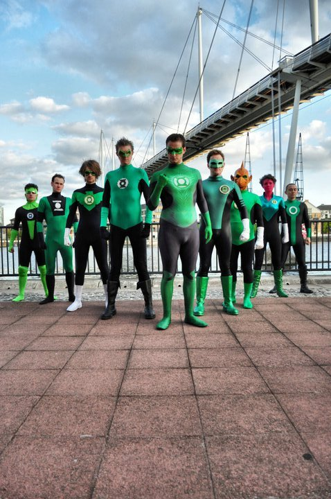 comicbookcosplaymen:  The Lantern corp rise! - Submitted by Skawt. Photograph by Anais.  oh my god oh my god oh my god these people are freaking amazing and lucky and awesome and omg ommmgggg :squeal: