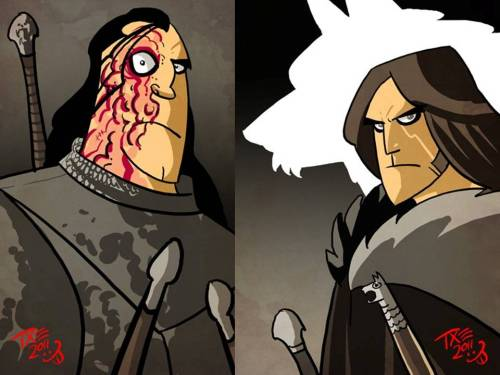 wheresparetimegoestodie:  Sandor Clegane (left) & Jon Snow (right) illustrated by Тхе Мичо  Credit goes to ahistorygeek for this one.