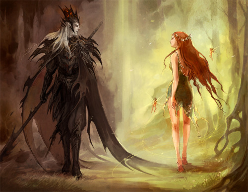 ttonks:  psychoticpixie:     Hades and Persephone     In Greek mythology Persephone is the only child of Demeter, Goddess  of nature and earth. Hades is the god of the underworld and the dead.While  Demeter was looking for her daughter  one day, she learned that Hades  had kidnapped her while she was picking flowers. He had kidnapped her  because she was so beautiful that even Hades, the god of death who  hardly glanced up at the living world for more then a few seconds, was  struck by her, and fell in love with her. Demeter, with her only child  kidnapped and forcefully married, fell into depression, and all  fertility on earth stopped. Hades began to notice that his once  glowing bride had now become depressed and dark; she only wandered  around his gardens without saying a word, looking up at the living  world, sighing and sobbing. He attempted to make her happy by lavishing  her with thousands of gifts, but Persephone was still unhappy.Zeus  sent Hermes down to to the underworld to demand that Hades release  Persephone back to her mother. Hades was truly in love with Persephone  and began to panic at the thought of losing her. With a last attempt he  resorted to trickery. Before Persephone went back to her mother, Hades  approached her with a pomegranate fruit, and began to sob over the fact  that she was leaving him forever. He offered the pomegranate as a final  present before she left, as it had been grown in Hades' private garden.Persephone  took the pomegranate from Hades out of pity and compassion, but only  ate six seeds from it before throwing it away. When Hermes arrived he  saw the pomegranate fall to the ground and questioned Persephone. She  admitted to eating it and was told by Hermes that because she had eaten  from the garden of death she was forever connected to the underworld and  could not leave.Demeter became outraged that Hades had tricked  her daughter into staying and went to the underworld to take Persephone  back home herself, but only ended up starting a fight with Hades. To  make them both happy, Zeus decided that Persephone would stay with  Hades, one month for every seed she had eaten.Thus every year  Persephone would live with her solemn and dark husband for six months  and then return to her mother in the world of the living for the other  six.When Persephone is with her her mother, Demeter, Demeter is  happy and the world goes lush and green, and crops begin to grow. But  when Demeter is separated from her daughter, she becomes depressed, and  everything on earth dies, animals sleep, and the world freezes in ice  and snow.