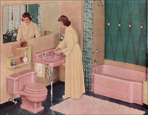 hollyhocksandtulips:  Retro bathroom, 1950's   My house, built in the late 1940's/early 1950's, has pink tile in the bathroom and a turquoise formica in the kitchen.  Luckily the tub and the sink and the toilet are white, not pink!