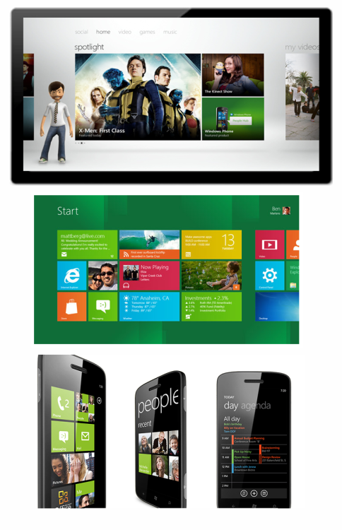 Not sure how I feel about Windows 8… hmmm. Loving the phone though— very sleek.  gregmelander:  WINDOWS RE-IMAGINED Some great Metro design work here in Windows 8, Xbox and Windows Phone. It is awesome to see this design language begin to family across Microsoft assets.