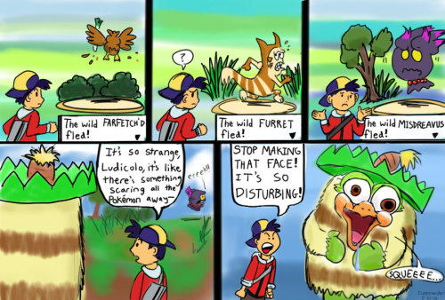 """Ludicolo used Creepy Look"" It's super effective!"