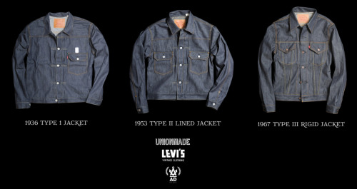 Levi's Vintage Clothing X UNIONMADE Goods Replica Denim Jackets based on a specific year.