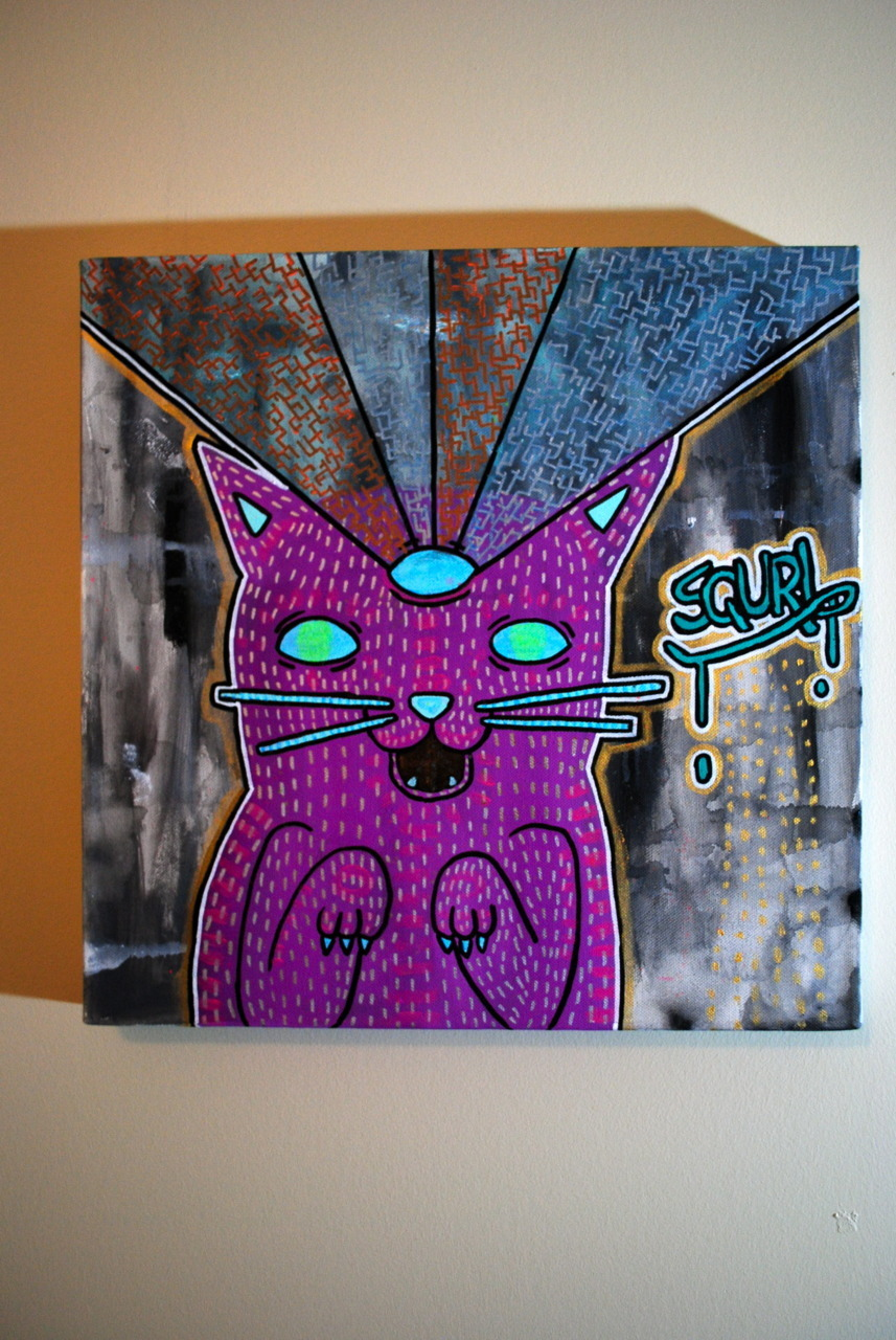 2011 - Kitty Sees All! - Acrylic, Glow paint - Medium THIS PAINTING GLOWS IN THE DARK….and its pretty cool but you should buy it so you can see how cool it really is…