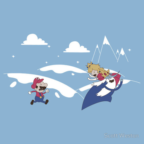 ianbrooks:  Mario's Adventure Time by Scott Weston Shirt available at redbubble for $24.54 USD. What if the Ice King kidnapped Princess Peach? Artist: website / deviantart / twitter