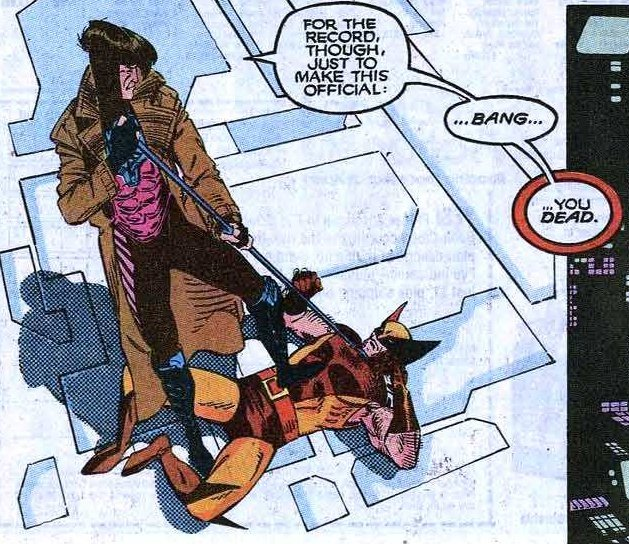 Uncanny X-Men #273 Wolverine loses to Gambit in the danger room.  Why doesn't he just stab him in the legs?  Because all gambit would have to do is lift his leg out of the way which would bring all of his weight down onto wolverine's throat.  That would be quite hard to do when you've got 3 claws jammed in your leg. And it's not like that's gonna kill wolverine. I need to read this to see what the rules of engagement were. Also.. why couldn't he just slice the Bo into pieces? As far as i am aware it's not made of anything special.
