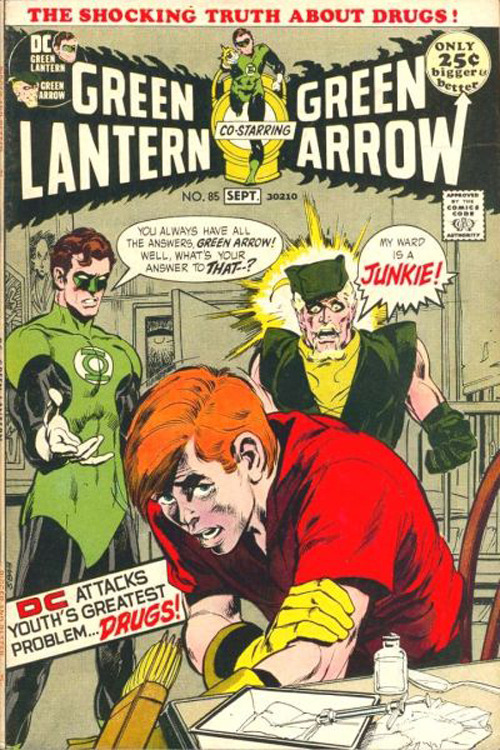 "40 Shocking Comic-Book Moments The Comic: Green Lantern Vol. 2 #85-86 The Shocking: Don't do drugs, kids. That was the clear message not so subtly folded into the pages of this issue, as the Green Arrow's sidekick Speedy gets hooked on heroin. ""DC attacks youth's greatest problem… DRUGS!"" cried the cover line. The Mayor of New York congratulated DC for tackling such an important issue, but that issue crippled the comic, and it was cancelled just three issues later. [FOR MORE SHOCKING COMIC-BOOK MOMENTS CLICK ON BUCKY OR FOLLOW THIS LINK]"