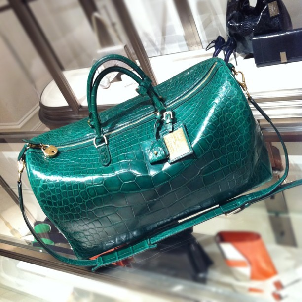 This green alligator duffle is beyond amazing ($25,000) #ralphlauren  (Taken with instagram)