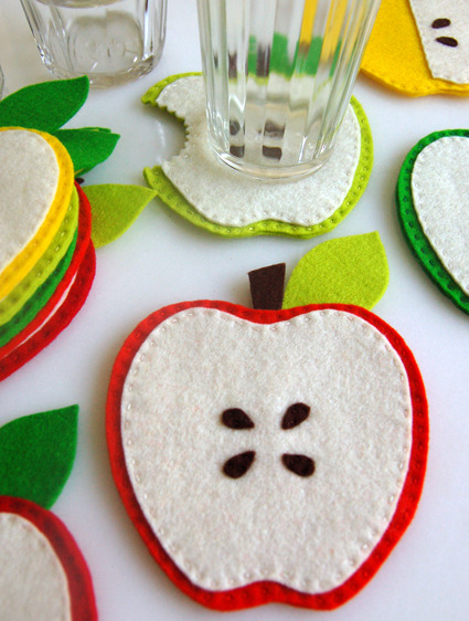 Molly's Sketchbook: Apple Coasters - Knitting Crochet Sewing Crafts Patterns and Ideas! - the purl bee