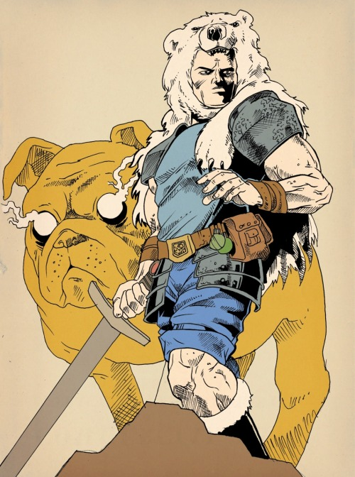 justinrampage:  Jake the Dog and Finn the Human take on a bulked up / hardcore style in Rachael Stott's killer technical pen drawing. Adventure Time! Adventure Time by Rachael Stott (Tumblr) (Twitter) Via: popcornillustration