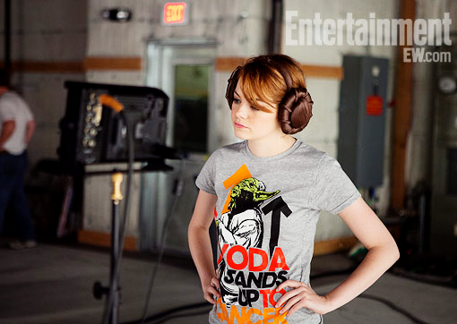 estoners:  Emma Stone stands up to cancer in the new EW spread.   I've been meaning to post about this for a few days, but Lucasfilm has teamed with with Stand Up to Cancer to help with their fundraising efforts.  You can purchase one of three different T-shirt designs (I like the men's shirt the best!), or you can participate in the special auctions that are being hosted through Ebay.  It sounds like you'll be able to bid on special VIP experiences, rare merchandise, and the like.  In the past—for the Make a Wish Foundation, if I recall—Lucasfilm has pulled out some REALLY cool toy prototypes and props from their archives to auction off, so it wouldn't surprise me if more showed up in these auctions (which start on 9/16). In any case, this is an incredible opportunity to do some good and celebrate the fact that the Star Wars saga is being released on Blu Ray for the first time this week. Please reblog and use The Force for good!