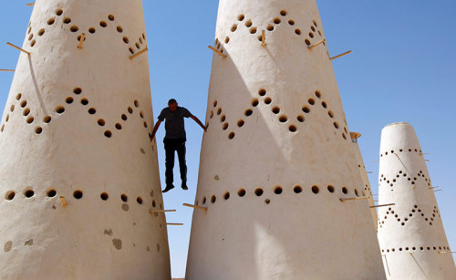 Assdada Fort, Libya: An anti-Gaddafi fighter climbs structures at a pigeon farm Photograph: Goran Tomasevic/ReutersSee more of the last 24 in pictures here