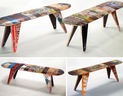 "jonwithabullet:  Skateboard Benches  american company deckstool has developed new furniture seating made from 100% reclaimed broken skateboards. the 48"" recycled skateboard deck benches feature a popsicle-shaped seat that use skateboard trucks for their construction. besides being influenced by skate art and culture, deckstool's designs are based upon how easily skateboards break during use. the company works with independent skate shops and parks in the USA and canada to collect busted boards, giving these small skate-businesses cash back to supplement their income or  to raise money for skate park projects.  check out more here"
