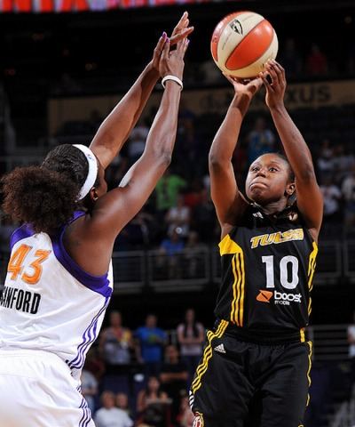 Although the Tulsa Shock are having a terrible season, I'm happy that not only did Andrea Riley (number 10 in the photo), a great point guard from Oklahoma State, make it into the WNBA, but that she gets to play for a team in her native Oklahoma.