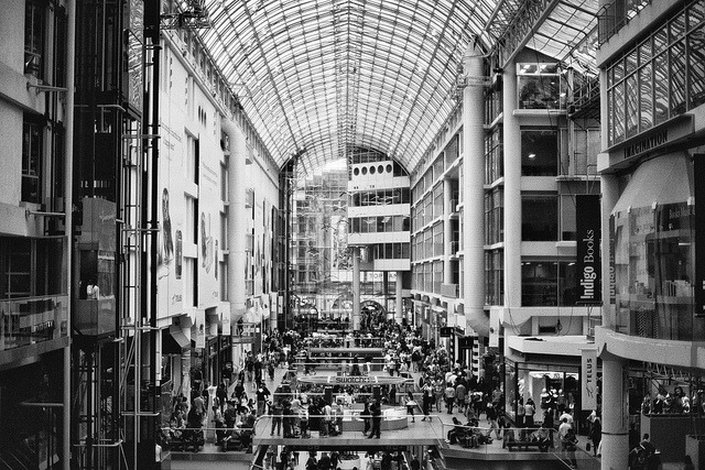 eaton's centre on Flickr.Via Flickr: Nikon FE2 Nikon NIKKOR 50mm f/1.4 AIS Kodak BW400CN Professional ISO 400