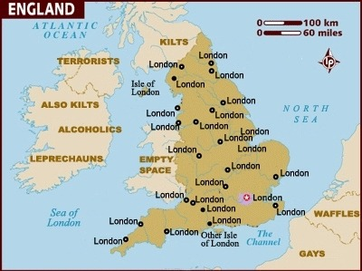 "mememolly:  hermionejg:  England to Other People ""Other Isle of London"" heehee.  Very true. Also, people love telling you any relationship they have to England. ""I lived there for 1 month."" ""My grandmother is from a town near Cornwall."" ""I went to some place in the south of Scotland once, have you been there?"""