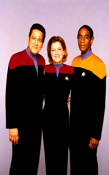 fuckyavoyagerbabes:  Kathryn Janeway, Chakotay, Tuvok  Captain, First Officer and Second Officer
