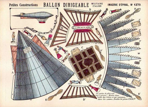 victoriasrustyknickers:  Italian Military Dirigible - Papercraft published in France by Imagerie d'Épinal - c1900 via ilfavolosomondodicartaditoto