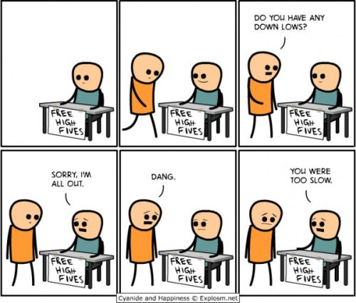 collegehumor:  Free High Fives  A Cyanide & Happiness Comic