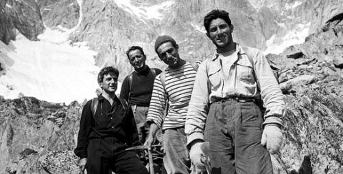 In this photo taken Aug. 1955, Italian climber Walter Bonatti, right, is seen on the Italian side of Mont Blanc. Walter Bonatti, an Italian climber who won belated recognition for his contribution for the first ascent to the summit of K2—the world's second-highest peak in Pakistan, has died. He was 81. It wasn't until 2008 that the Italian Alpine Club confirmed Bonatti's version, declaring that Bonatti and his fellow support climber Amir Mahdi had a decisive and essential role in the success of the 1954 expedition. RIP