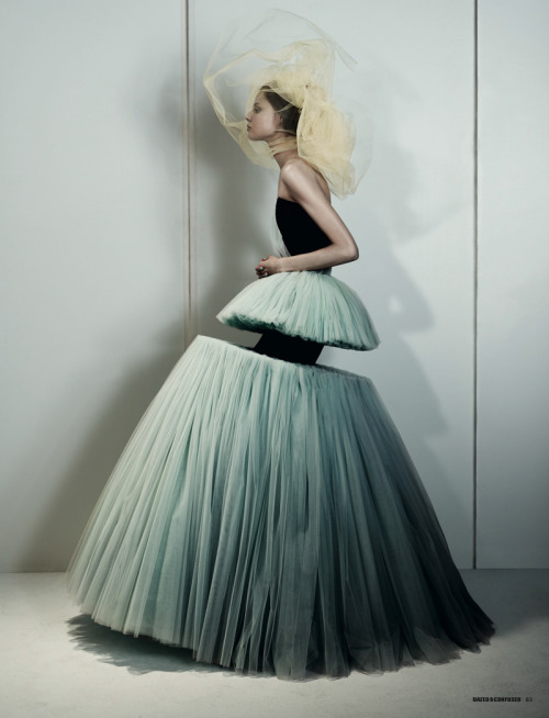 Magadalena Frackowiak wearing Viktor & Rolf, shot by Josh Olins for Dazed and Confused February 2010
