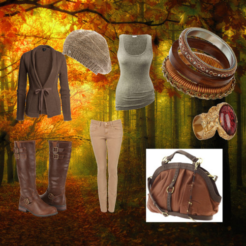 Looseseal2's Fall by looseseal2 featuring a knit beret hatCardiganAmerican Vintage top, €23Jeans, $80Faux leather boots, $40Lucky Brand satchel bag, $209Dorothy Perkins wooden jewelry, £10Yves Saint Laurent gold plated jewelry, $250Armani Exchange knit beret hat, $38