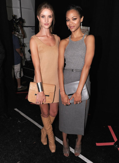 celebrities of the day. rosie huntington whiteley and zoe saldana @michael kors NYFW. monochrome, win.