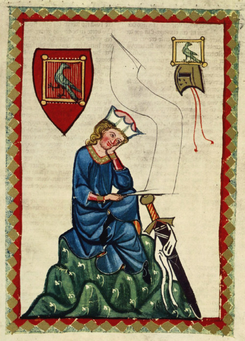 "mediumaevum:  Portrait of Walther von der Vogelweide. From the Codex Manesse (Folio 124r). Walther von der Vogelweide (c. 1170 – c. 1230) is the most celebrated of the Middle High German lyric poets.  And one of my favorites!  ""…Vor dem walde, in einem tal, tandaradei, schoene sanc diu nahtegal."""