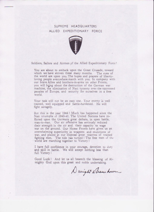 D-Day Message to the Troops from President Eisenhower (June 2 1944)