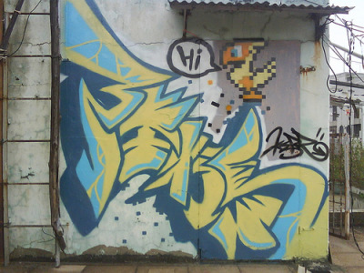 albotas:  Daily Graffiti: Chocobo Says Hi Dope pixel graffiti piece by KERR for all you Final Fantasy heads out there. Check out the DAILY GRAFFITI ARCHIVES for more geektastic street art!  Only thing that would make this more epic is if it were a gold chocobo.