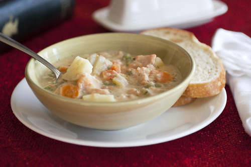 gastrogirl:  lighter salmon potato chowder.