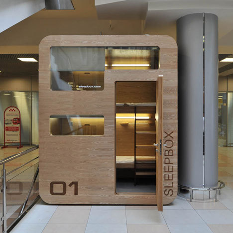 The SleepBox … I recommend this at every department … david-noel:  Russian architects Arch Group have completed the first of their tiny hotel rooms for napping at airports. Airports? Heck, we need this in our office! (via percolate)
