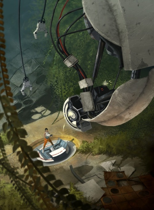 justinrampage:  Portal 2 was a really great game and artist Milek Jakubiec did an excellent job of paying homage with his new fan art illustration. It's Been a Looong Time by Milek Jakubiec (deviantART) Via: insanelygaming | svalts