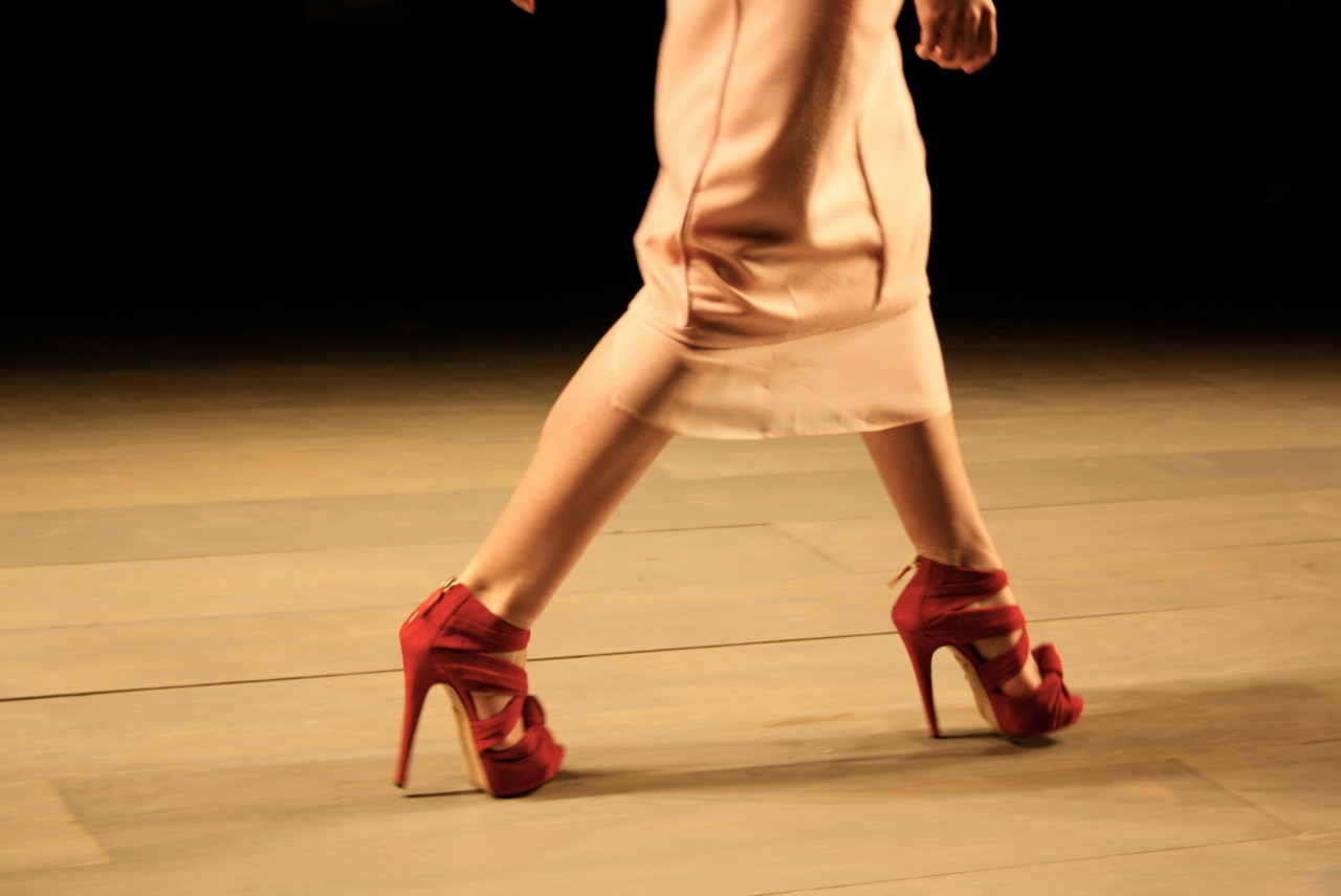 Drop-dead gorgeous red Charlotte Olympia heels in action on the runway at Emilio de la Morena at London Fashion Week last season