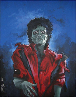 An oldie of mine, created in 2008, Michael Jackson's Thriller in zombie form.  I watched the Making of Michael Jackson's Thriller on VHS religiously as a kid.  Still easily my favorite music video ever. Prints available upon request!