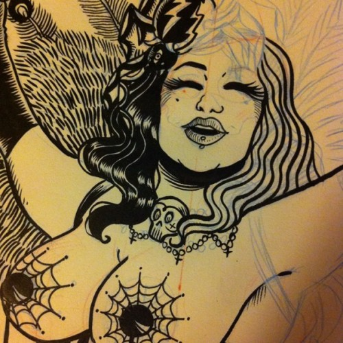 #wip #burlesque #poster #missannethropy #cabaret #flyer #illustration #affiche  (Taken with Instagram at http://www.mariemeier.fr)