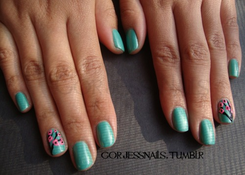 Valerie's Mint Cherry Blossom Nails..