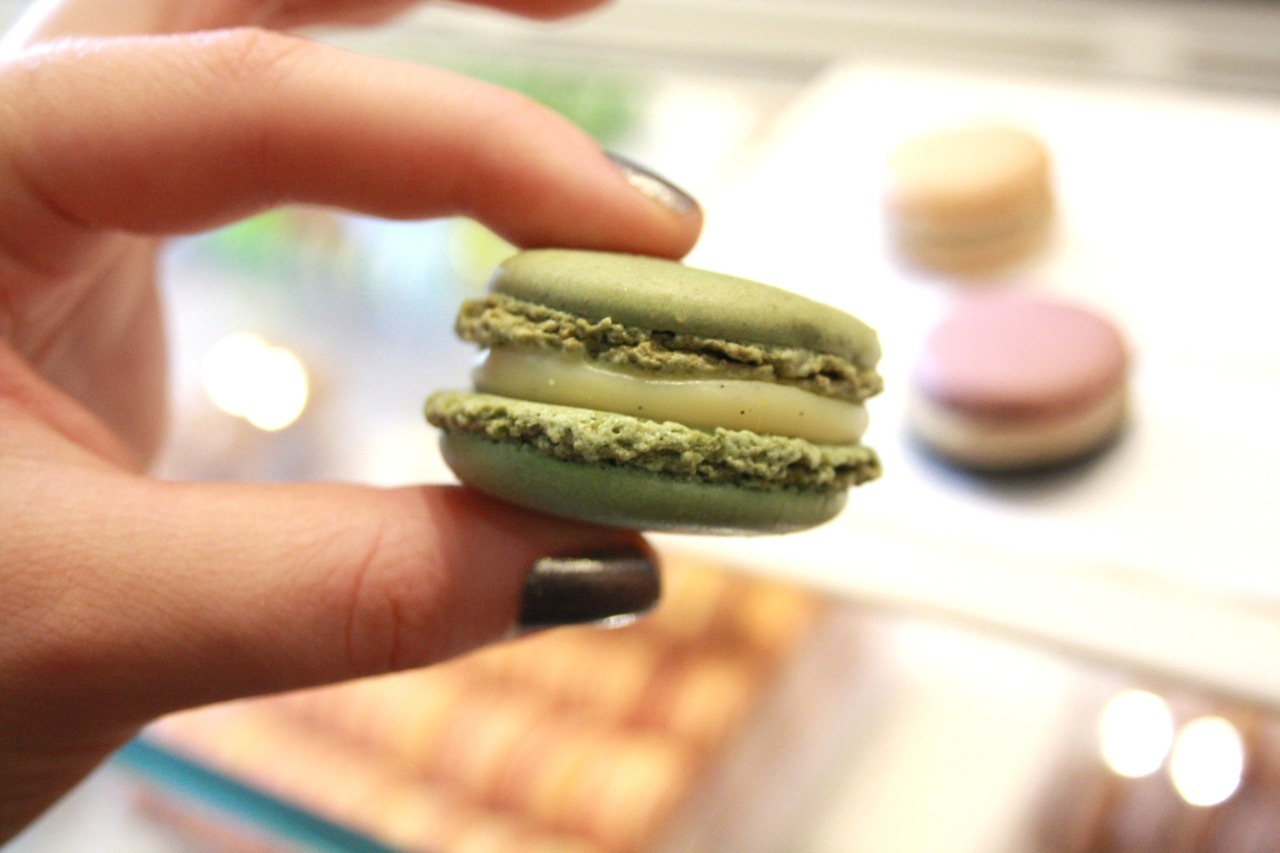 For the most incredible, wonderfully unusual macarons you will ever have, make sure you visit the Pierre Herme salon on Lowndes Street, London (this was the sublime green olive oil and vanilla).