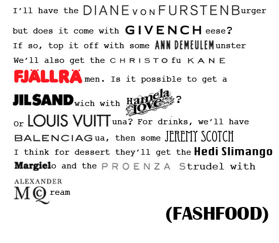 FASH FOOD What's on your fashion plate? By: Pardis Saberi