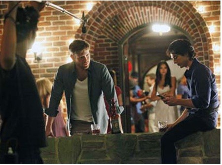 justianjosephsomerhalder:  Matt, Nina and Ian - Behind the Scenes of The Vampire Diaries' Third Season
