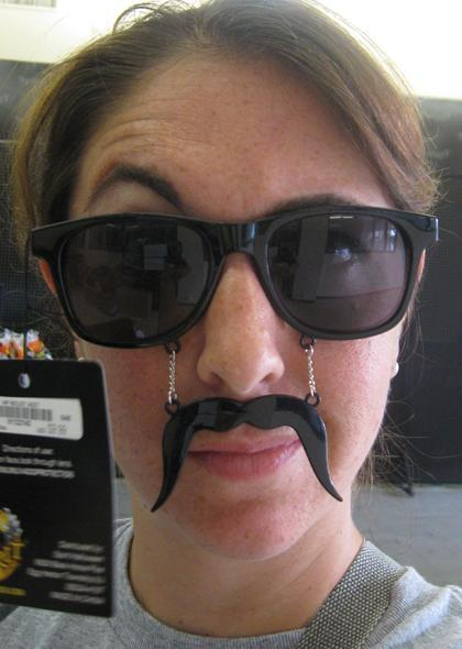 What makes a cool pair of sunglasses cooler? FAKE MUSTACHE. Via