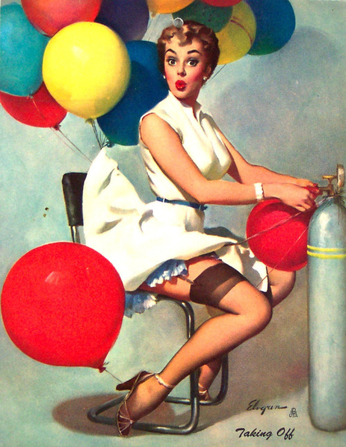 "vintagegal:  ""Taking Off"" by Gil Elvgren 1955"