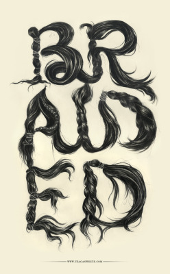 "designcloud:  Braided Typography by Teagan White 17""x28"", ink on paper."