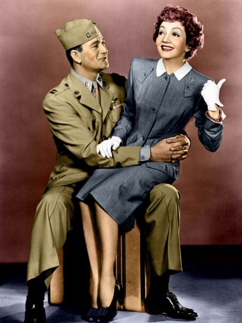 John Wayne and Claudette Colbert in Without Reservations, 1946     (via itsbeenalonglongday)