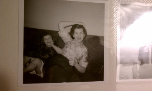 Enjoying some old pics tonight with Grandma Glo. Here she is with my mom… love this!